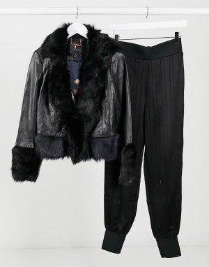 Черная кожаная куртка -Черный Ted Baker