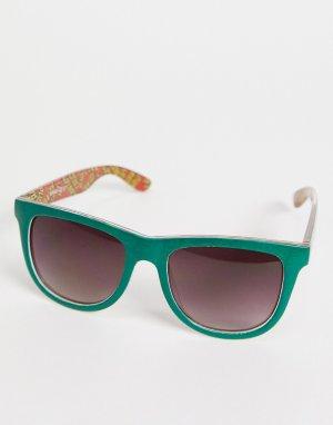 Зеленые классические солнцезащитные очки с разноцветным принтом -Зеленый цвет Santa Cruz