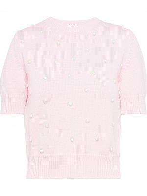 Декорированный джемпер с короткими рукавами Miu. Цвет: розовый