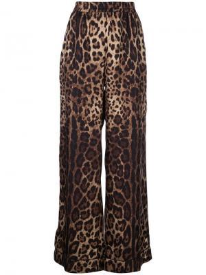 Спортивные брюки с леопардовым принтом Dolce & Gabbana. Цвет: коричневый