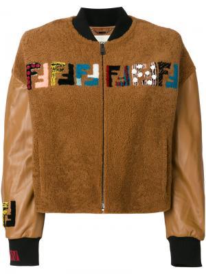 Куртка-бомбер с вышивкой Fendi. Цвет: коричневый