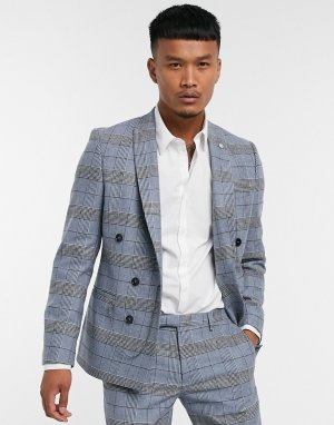 Синий приталенный пиджак в клетку -Голубой Twisted Tailor