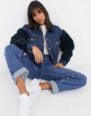 Джинсовая куртка со вставками из искусственной цигейки Levis-Голубой Levi's