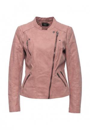 Куртка кожаная Only. Цвет: розовый