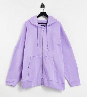 Сиреневый худи в стиле super oversized на молнии ASOS DESIGN Curve-Фиолетовый цвет Curve