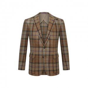 Пиджак из шерсти и шелка Ralph Lauren. Цвет: коричневый