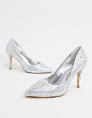 Серебристые блестящие туфли на высоком каблуке с заостренным носком wedding-Серебряный Dune