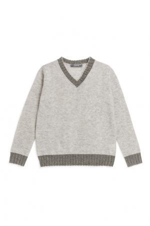 Серый кашемировый пуловер Bonpoint. Цвет: серый