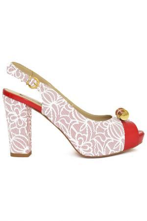Туфли открытые Giada Gabrielli. Цвет: красный, белый