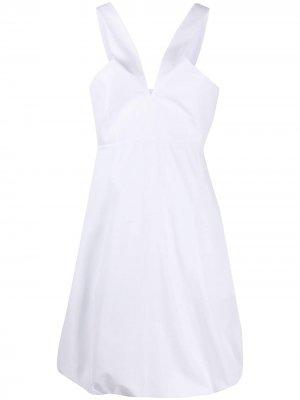 Платье мини с V-образным вырезом Salvatore Ferragamo. Цвет: белый