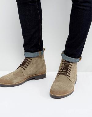 Серо-коричневые замшевые ботинки броги -Коричневый Frank Wright