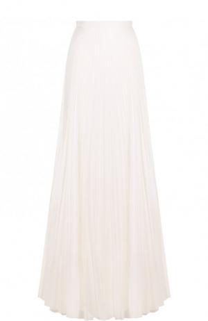 Однотонная плиссированная юбка-макси Vionnet. Цвет: белый