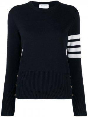 Классический пуловер с круглым вырезом и полосками 4-Bar Thom Browne. Цвет: синий