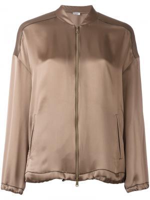 Куртка-бомбер на молнии Brunello Cucinelli. Цвет: коричневый