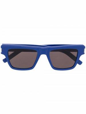 Солнцезащитные очки в квадратной оправе Saint Laurent Eyewear. Цвет: синий