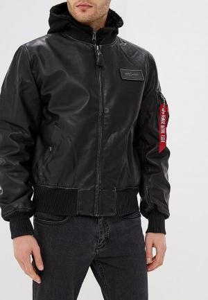 Куртка кожаная Alpha Industries MA-1D-Tec FL. Цвет: черный