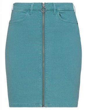 Джинсовая юбка ICHI. Цвет: цвет морской волны