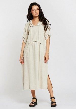 Платье Dimma. Цвет: бежевый
