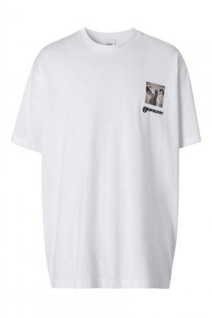 Белая хлопковая футболка с логотипом Burberry. Цвет: белый