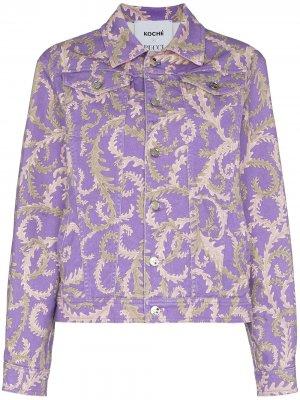 Джинсовая куртка с принтом из коллаборации Koché Emilio Pucci. Цвет: фиолетовый