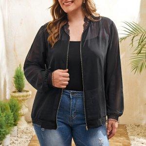 Прозрачная шифоновая куртка-бомбер размера плюс SHEIN. Цвет: чёрный