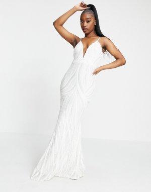 Белое платье макси с глубоким вырезом и пайетками -Белый Goddiva