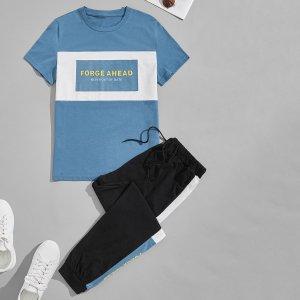 Мужской с текстовым принтом контрастный Футболка & на кулиске Спортивные брюки SHEIN. Цвет: многоцветный