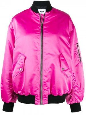 Куртка-бомбер с вышивкой MSGM. Цвет: розовый