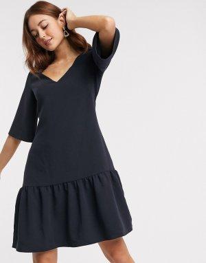 Темно-синее платье мини с асимметричным краем Closet-Темно-синий Closet London