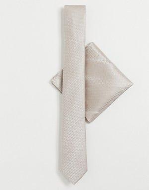 Галстук и платок для пиджака -Бежевый Harry Brown