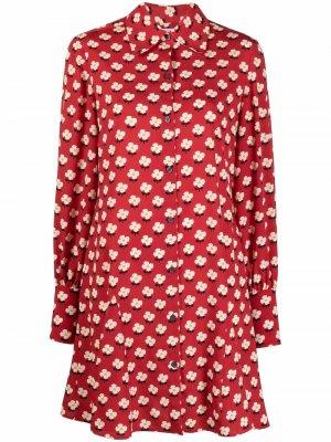 Платье-рубашка мини с цветочным принтом Kate Spade. Цвет: красный