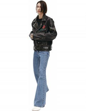 Кожаная куртка с принтом розы Enfants Riches Deprimes