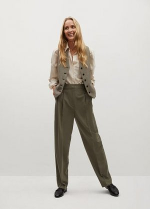 Прямые брюки с защипами - Isabel Mango. Цвет: хаки