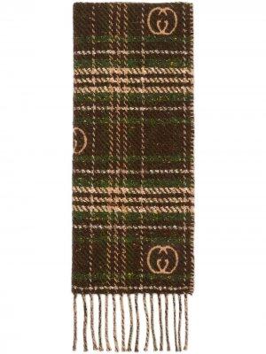 Жаккардовый шарф в клетку Gucci. Цвет: коричневый