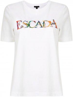 Футболка с вышитым логотипом Escada. Цвет: белый