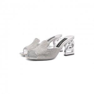 Комбинированные мюли Dolce & Gabbana. Цвет: серебряный