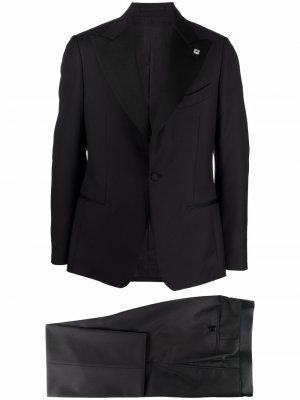Костюм с однобортным пиджаком Lardini. Цвет: черный