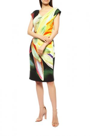 Платье Apanage. Цвет: тёмно-зелёный, жёлтый принт
