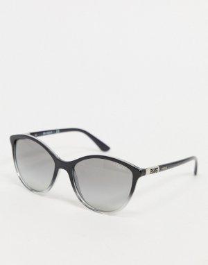 Черные круглые солнцезащитные очки с серыми стеклами -Черный Vogue