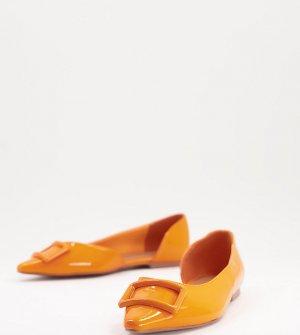 Оранжевые лакированные балетки для широкой стопы с острыми носками Lozzy DOrsay-Оранжевый цвет ASOS DESIGN