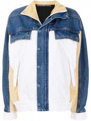 Джинсовая куртка в стиле колор-блок Alexander Wang. Цвет: синий