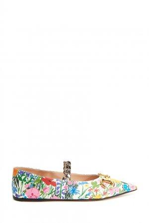 Балетки с цветочным принтом Gucci. Цвет: multicolor