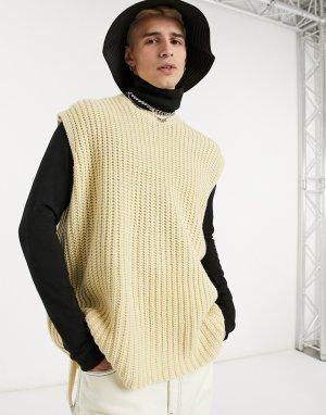 Бежевый oversized свитер-жилет ASOS DESIGN