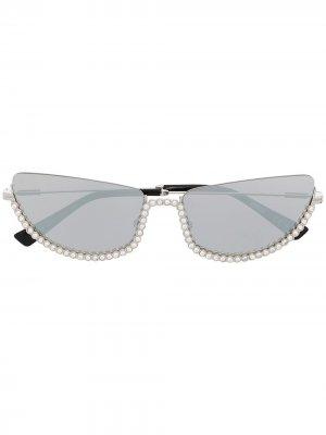Солнцезащитные очки в оправе кошачий глаз Moschino Eyewear. Цвет: серебристый