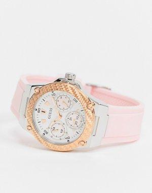 Часы с логотипом на ремешке -Розовый Guess
