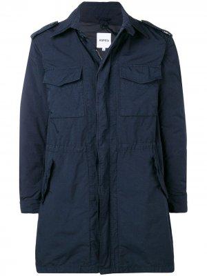 Пальто на молнии с карманами клапанами Aspesi. Цвет: синий