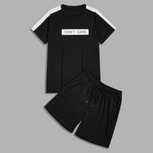 Мужской спортивный костюм с текстовым принтом SHEIN. Цвет: чёрный