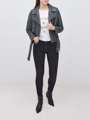 Кожаная куртка Jasoho BOSS. Цвет: zelenyy