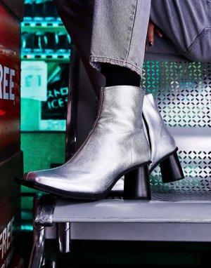 Полусапожки челси на круглом каблуке с длинным квадратным носком из серебристой кожи -Серебряный ASOS DESIGN