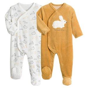 Комплект из 2 велюровых пижам LaRedoute. Цвет: желтый